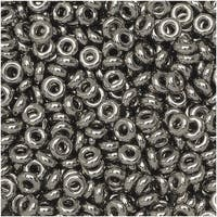 Toho Demi Round Seed Beads, Thin 8/0 (3mm) Size, 7.4 Grams, 711 Nickel