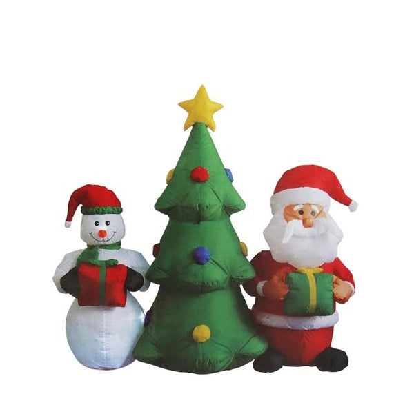 5' Inflatable Christmas Tree with Santa Claus and Snowman Lighted Christmas Outdoor Decoration