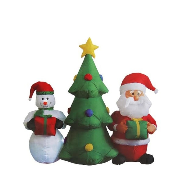 5u0026#x27; Inflatable Christmas Tree With Santa Claus And Snowman Lighted  Christmas Outdoor Decoration