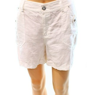 INC NEW Solid White Bright Women's Size 14 Linen Regular Fit Shorts