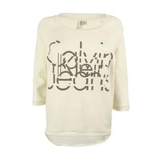 Calvin Klein Women's 3/4 Sleeves Scoop Neck Sweatshirt