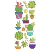 """Succulents; 14/Pkg - Paper House Sticky Pix Faux Enamel Stickers 8""""X3"""""""