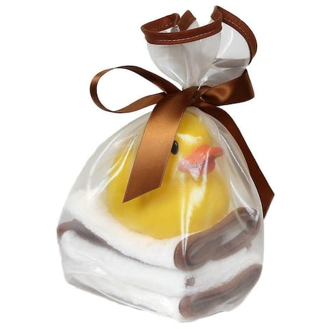 Raindrops Unisex Baby Loved 5 Pc Wash Cloth and Rubber Ducky Set Toffee One Size - One Size