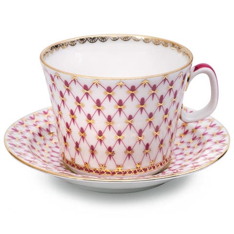 Imperial Porcelain Factory Netting-Blues Teacup and Sacuer