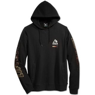 LRG NEW Black Men Size Large L Logo-Print Hooded Fleece Pullover Sweater