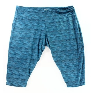 The Balance Collection NEW Blue Women 3X Plus Printed Crop Legging Pants