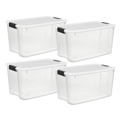 STERILITE 70 Quart Ultra Latch Boxes, Clear - Case of 4