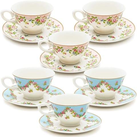 Floral Vintage 8oz Tea Cups and Saucer Set of 12 Party Supplies Blue Pink Teacup
