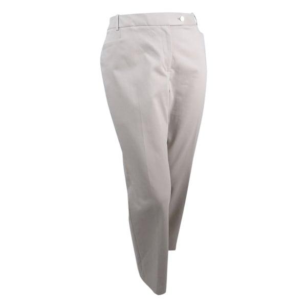 f2cf170b96f Calvin Klein Women's Plus Size Straight-Leg Trousers (18W, Khaki) - KHAKI -  18W