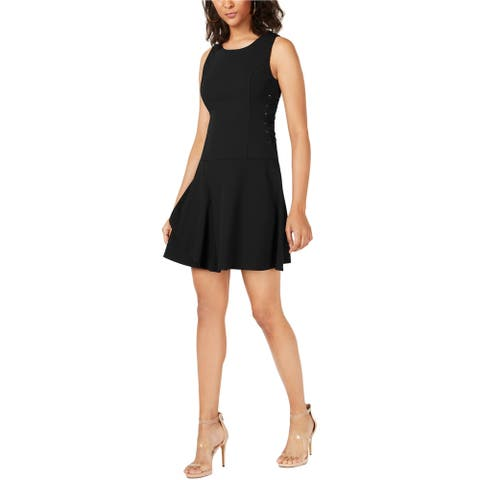 Bar Iii Womens Lace-Up Fit & Flare Dress
