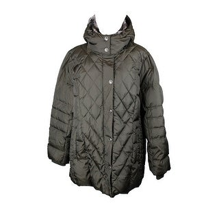 London Fog Green Faux-Fur-Collar Quilted Down Coat XXL