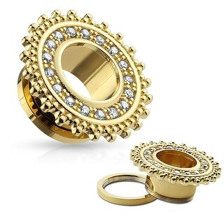 CZ Pave Tribal Shield Top Gold IP Surgical Steel Screw Fit Flesh Tunnel (Sold Ind.)