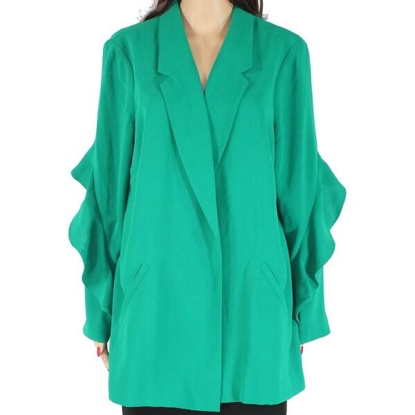 Alfani Women's Jacket Green Size XL Flounce Sleeve Notched Collar. Opens flyout.