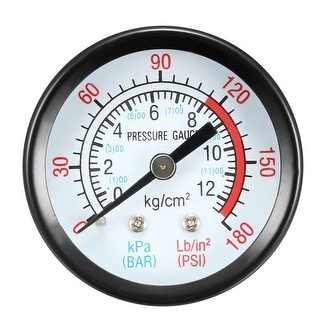 "Pressure Gauge , 0-180 PSI/0-20 BAR Dual Scale , 1.8"" Dial Display , 1/8"" NPT"