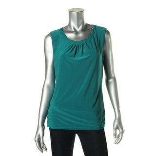 Tahari ASL Womens Tammy Pleated Neck Sleeveless Blouse - XS