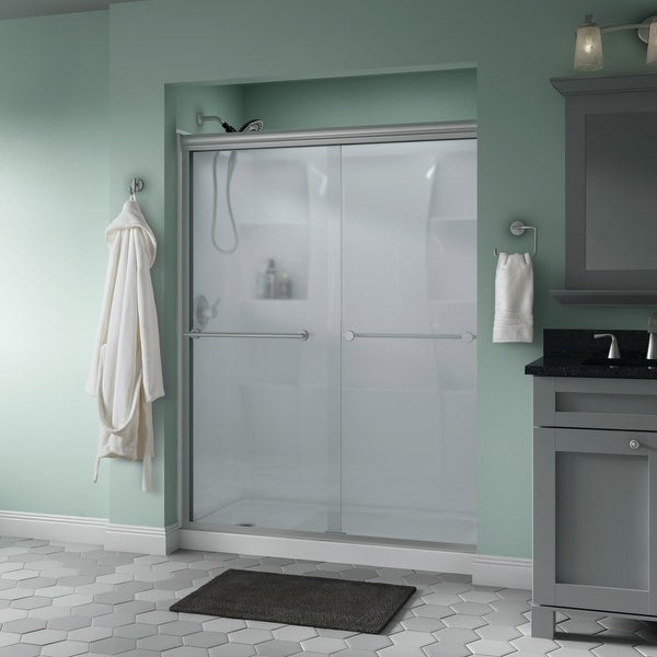 """Delta SD3172313 Trinsic 70"""" High x 59-3/8"""" Wide Sliding Semi Frameless Shower Door with Frosted Glass - Nickel"""