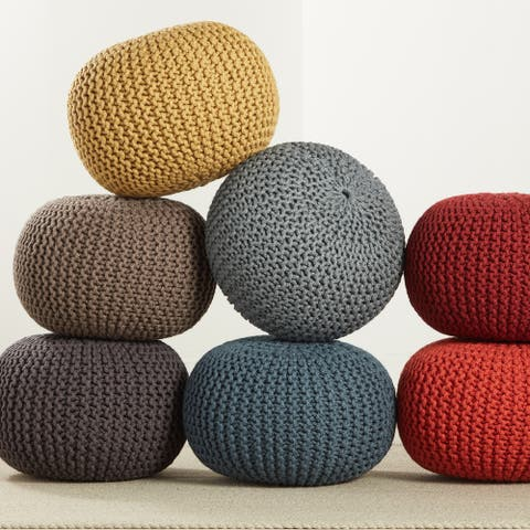 """Asilah Indoor/ Outdoor Solid Round Pouf - 20""""X20""""X14"""""""