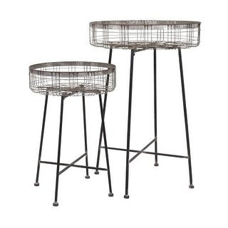 IMAX Home 65340-2 Pitzer Round Wire Plant Stands - Set of 2