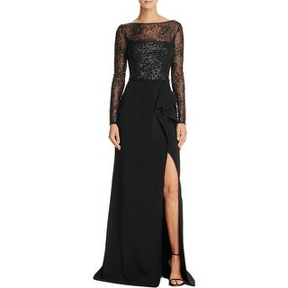 Carmen Marc Valvo Womens Formal Dress Sequin Ruffle