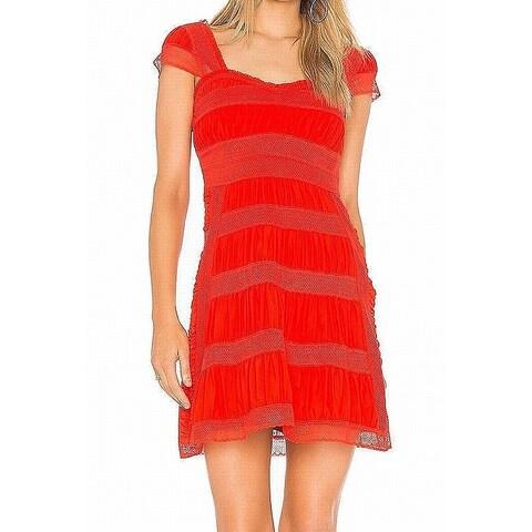 Free People Red Womens Size 6 Alicia Crochet-Contrast Mini Dress