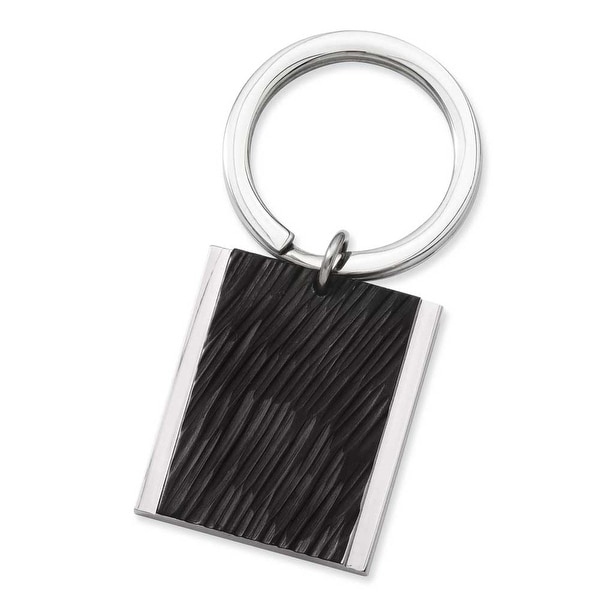 Stainless Steel Textured Black Plated Key Ring