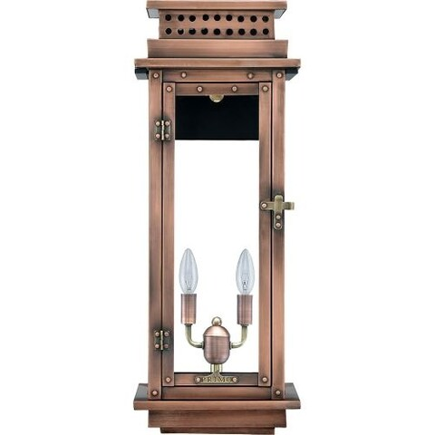 """Primo Lanterns NV-22E Nouveau 15"""" Wide 2 Light Outdoor Wall-Mounted Lantern in Electric Configuration"""