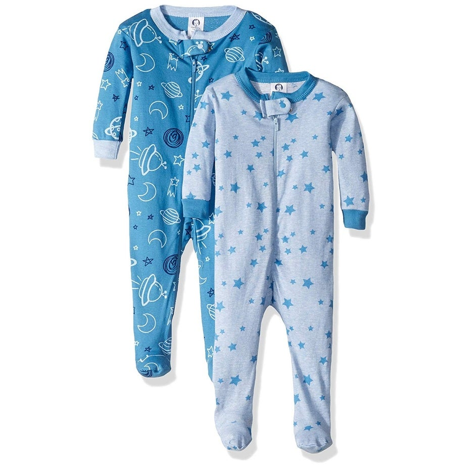 STARS Gerber Baby Boys Organic 2 Pack Cotton Footed Unionsuit 3 months