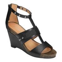 Aerosoles Women's Watermark Wedge Sandal Black Faux Leather