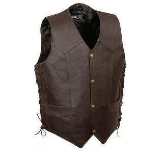 Mens Skull & Bones Brown Leather Biker Vest Size XS