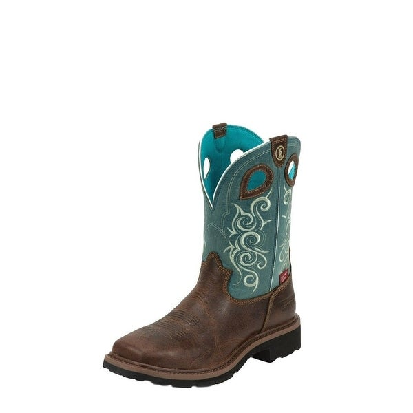 Tony Lama Work Boots Womens Gladwater Composite Toe Brown Teal