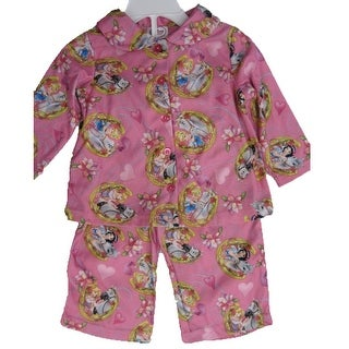 Disney Baby Girls Pink Princesses Horse Print 2 Pc Pajama Set 12-24M
