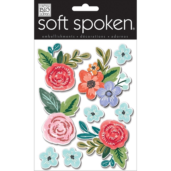 Soft Spoken Themed Embellishments-Painted Flowers