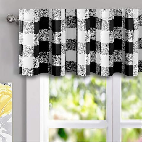 "DriftAway Buffalo Checker Pattern Lined Blackout Rod Pocket Window Curtain Valance Single 52 x 14 - 52""widthx14""length"