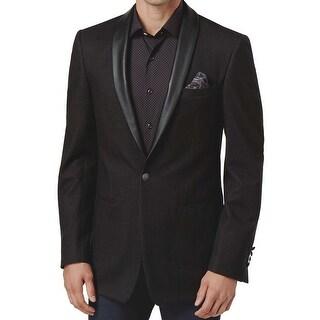 Tallia NEW Men's Black Size 40 Short One Button Faux-Leather Blazer