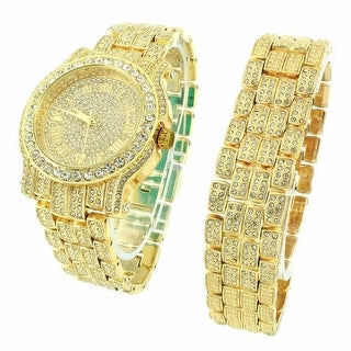 Watch Bracelet Combo Set Illusion Dial Roman Number Hour Mark Iced Out Gold Finish