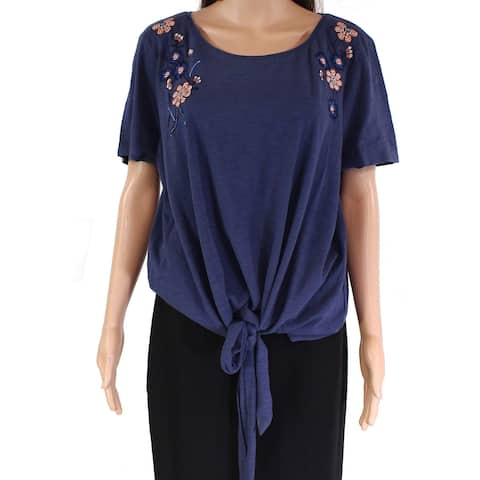 Fat Face Women's Top Blue Size 14 Floral Embroidered Twist-Front