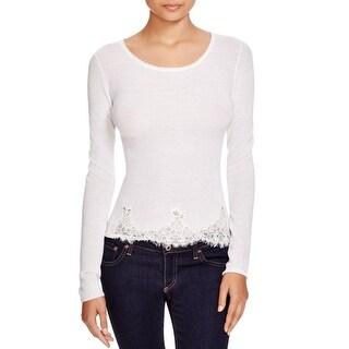 Elie Tahari Womens Maya Pullover Sweater Merino Wool Lace Trim
