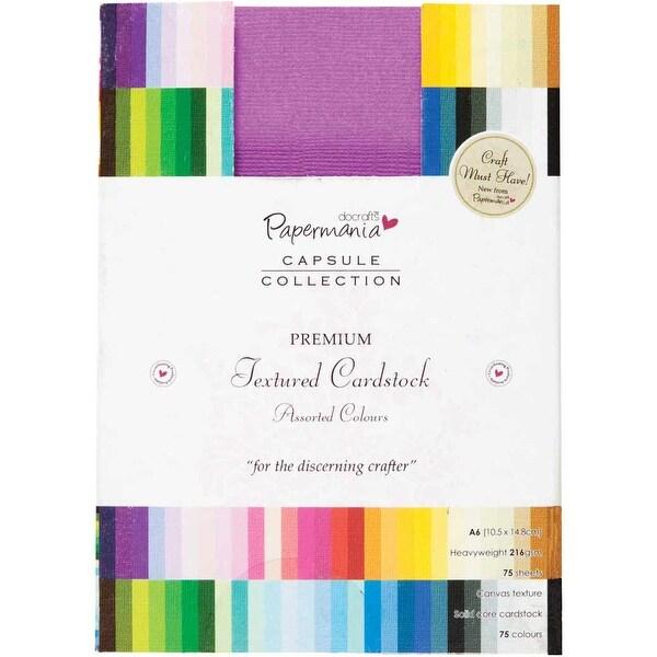 Papermania Premium Textured Solid Cardstock Pack A6 75/Pkg-Multi