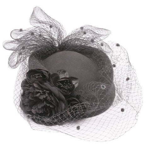 Womens Floral French Netting Vintage Cap - One size