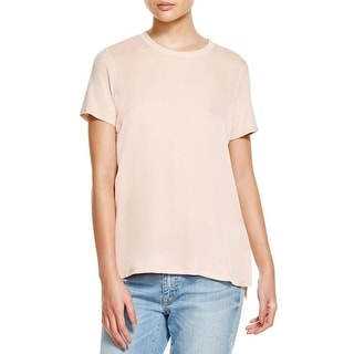 Theory Womens Apdime Casual Top Silk Front Short Sleeves