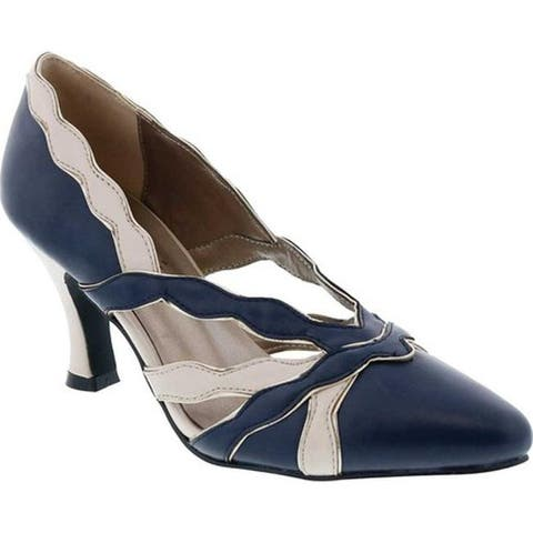 Bellini Women's Cocktail Pointed Toe Pump Navy/Cream Patent