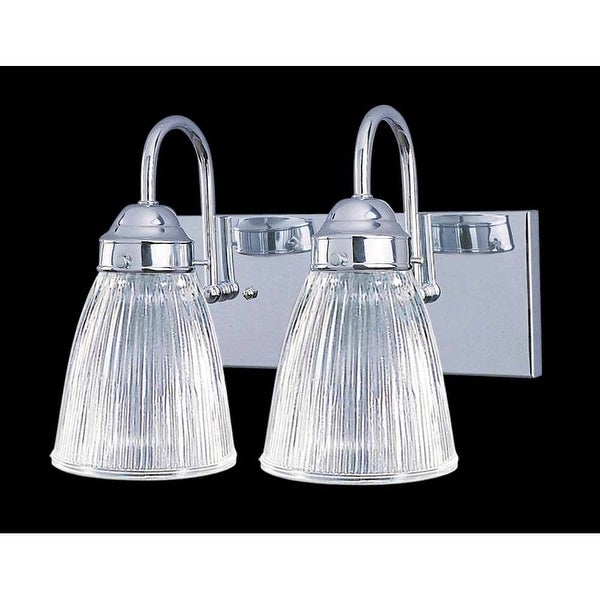 """Volume Lighting V1352 Marti 2-Light 12"""" Width Bathroom Vanity Light with Clear Ribbed Glass Shade - Polished brass - n/a"""