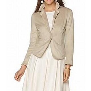 Wendy Williams NEW Beige Womens Size 12 Faux-Suede Ruffle-Collar Blazer