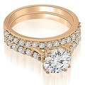 1.05 cttw. 14K Rose Gold Cathedral Round Cut Diamond Bridal Set - Thumbnail 0