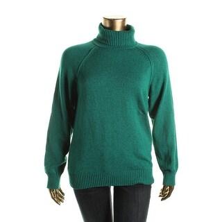 Karen Scott Womens Cotton Marled Turtleneck Sweater