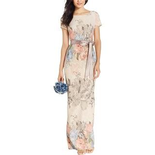 Adrianna Papell Womens Petites Matelasse Evening Dress Metallic Printed