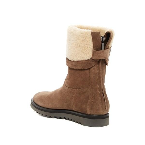 Aquatalia Womens PERDI Faux Fur Almond Toe Mid-Calf Fashion Boots - 8.5