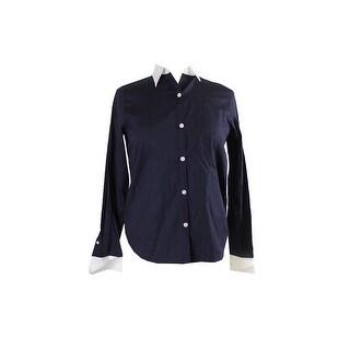 Lauren Ralph Lauren Petite Navy Long-Sleeve French-Cuff Shirt PP