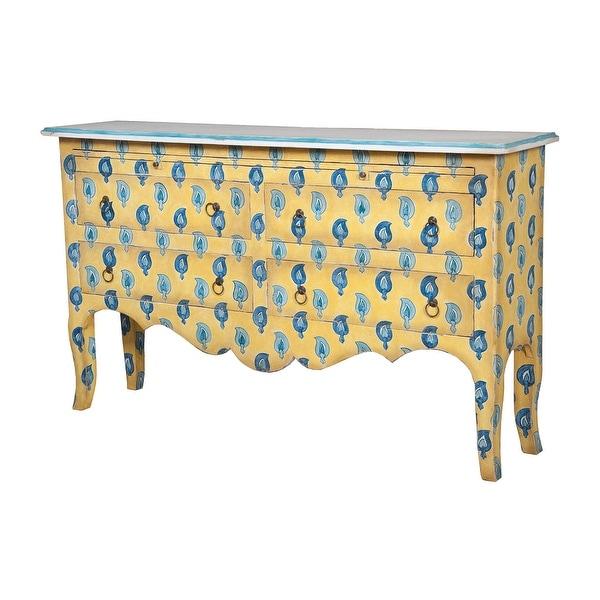 "GuildMaster 644038 Portuguese Tile 62"" Wide Hand Carved Mahogany Sideboard"