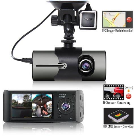 "Indigi® New XR300 Car DVR Dual Camera DashCam (Front+Rear) G-Sensor Driving Recorder with 2.7"" Split Screen LCD w/ GPS Tracker"